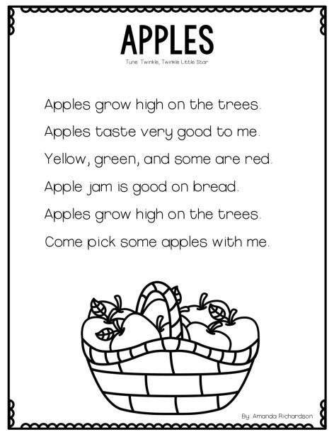 All About Apples and a Poetry FREEBIE | Kindergarten poems ...