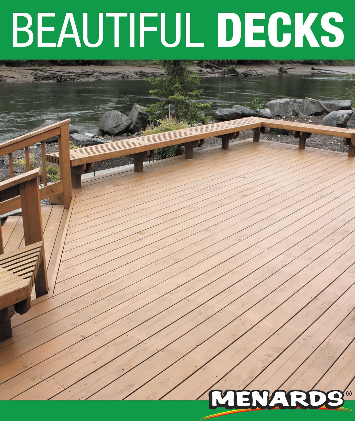 Complete Your Next Deck Project With Ac2 Cedartone Premium Thick Deck Decking Available Exclusively At Menards Deck Deck Projects Pressure Treated Deck Boards