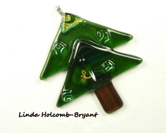 Fused Glass Christmas Tree Ornament by StoneRiverDesign on Etsy