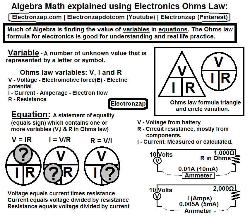 Algebra Math Explained Using Electronics Ohms Law Variables And