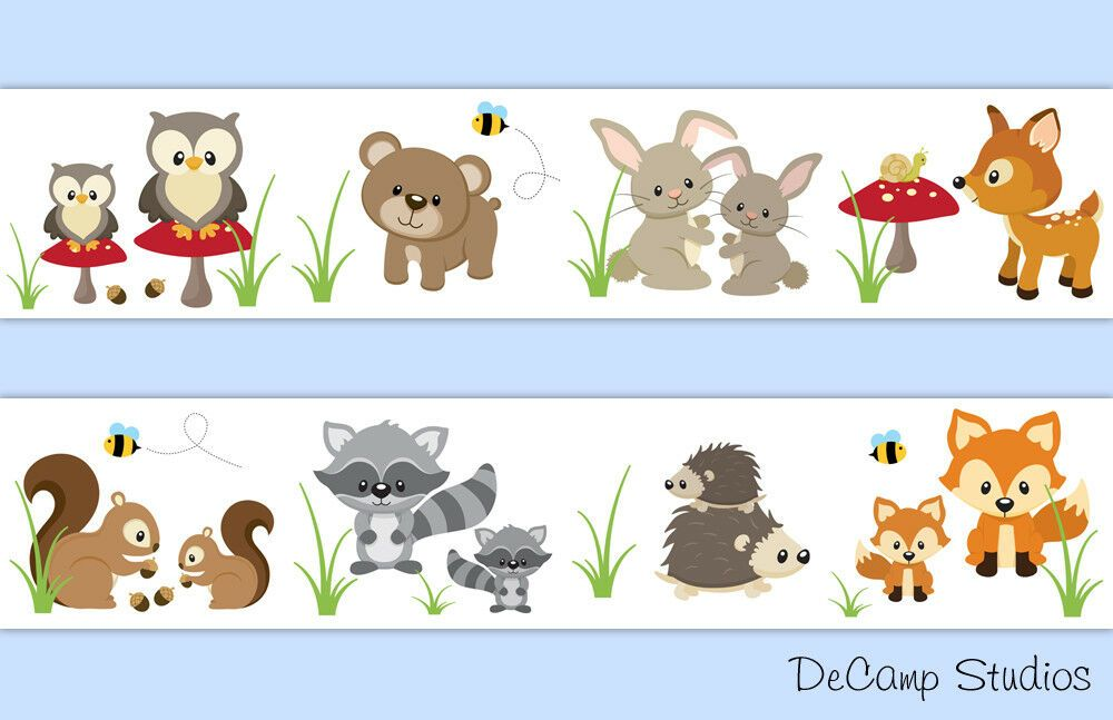 Woodland Animal Baby Nursery Wallpaper Border Wall Art