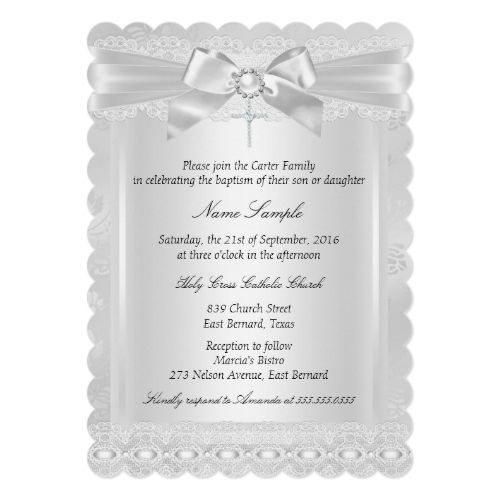 Boy or Girl White Lace Cross Baptism Christening Card