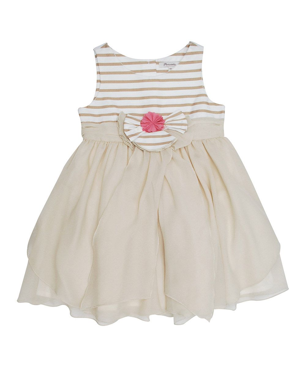 Love this Periwinkle Beige Stripe Flower Dress - Toddler & Girls by Periwinkle on #zulily! #zulilyfinds