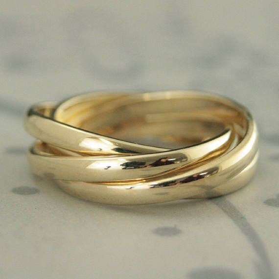 4 Band Rolling Ring Russian Wedding 14k Gold Interlocking
