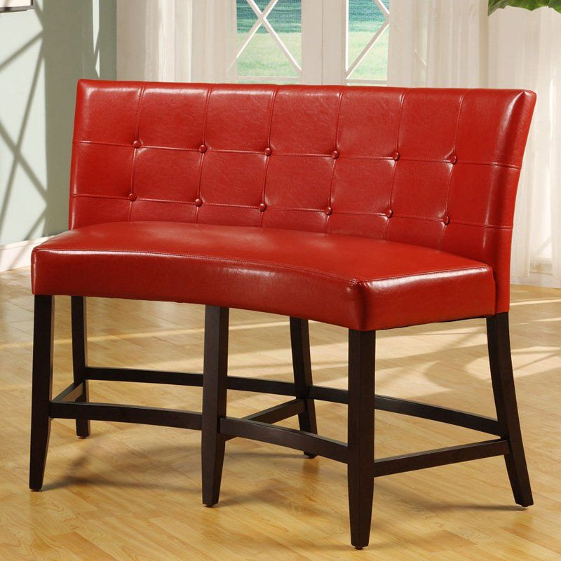 Bossa Counter Height Banquette Red Leatherette From Hayneedle