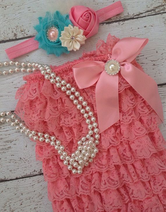 Coral/ Salmon/ Dark Peach/ Lace Romper/ Birthday/ FlowerGirl/ CakeSmash/ Easter/ Pageant/ Photoprop on Etsy, $30.99