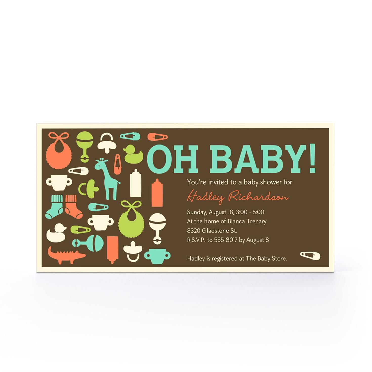 Fun Baby Icons Baby Invitation Hallmark Baby Shower