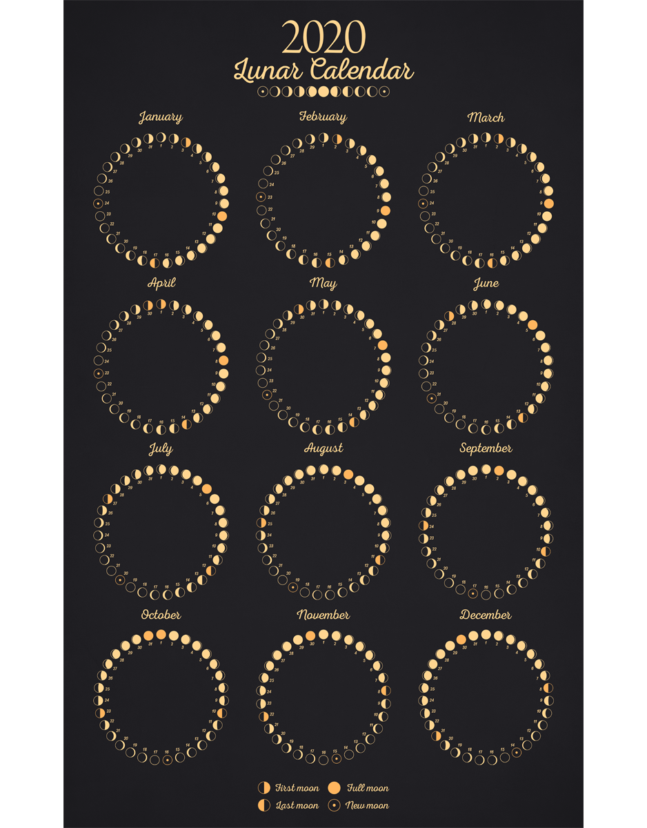 Lunar Calendar 2020 Art Print Em 2020 Bruxas