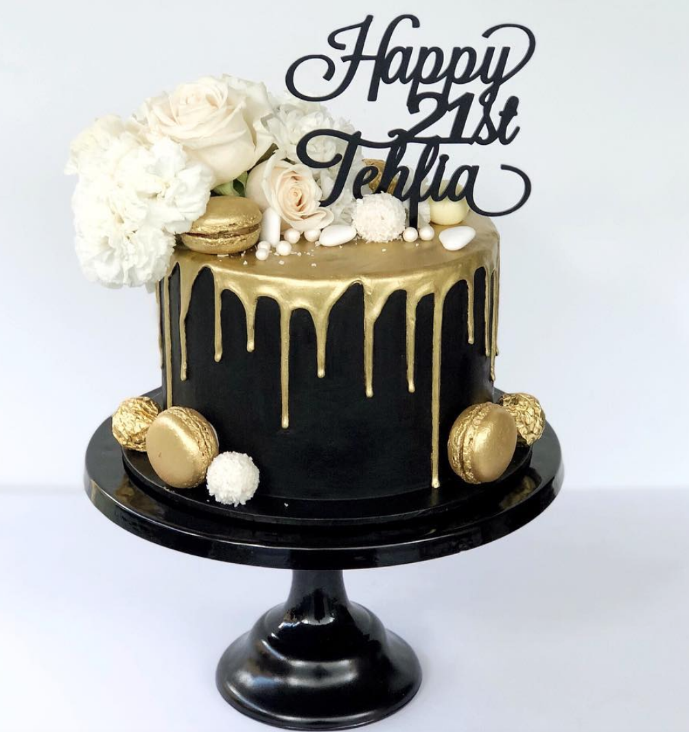 Black And Gold 21st Cake Black Cakes It Makes My Heart Sing 3