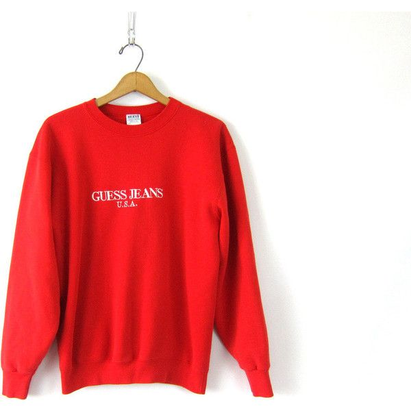 clients first meet great deals on fashion GUESS sweatshirt vintage Red pullover sweater 90s preppy ...