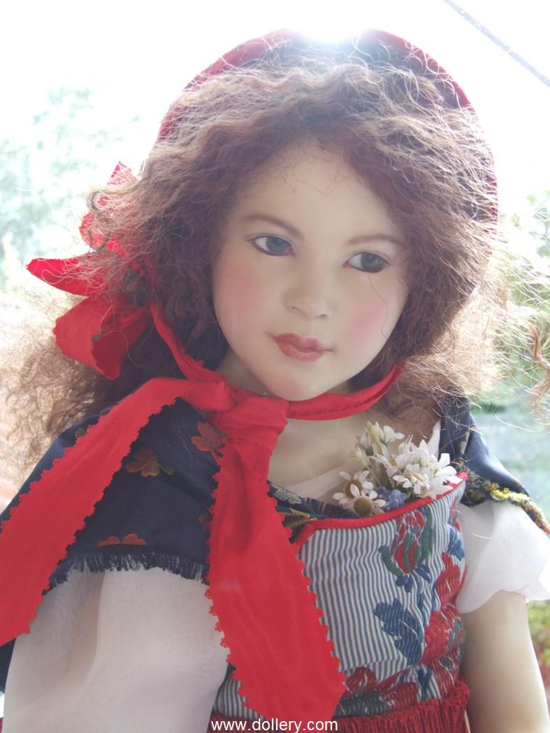 """Hanna Goetz One of a Kind Dolls at the Dollery. """"Little Red Riding Hood""""  High-Fired Clay w/Wax Body - Strong Moveable Skelton w/Soft Stuffing Body, Green Mouth Blown Glass Eyes, Reddish Brown Human Hair, 28.3"""""""