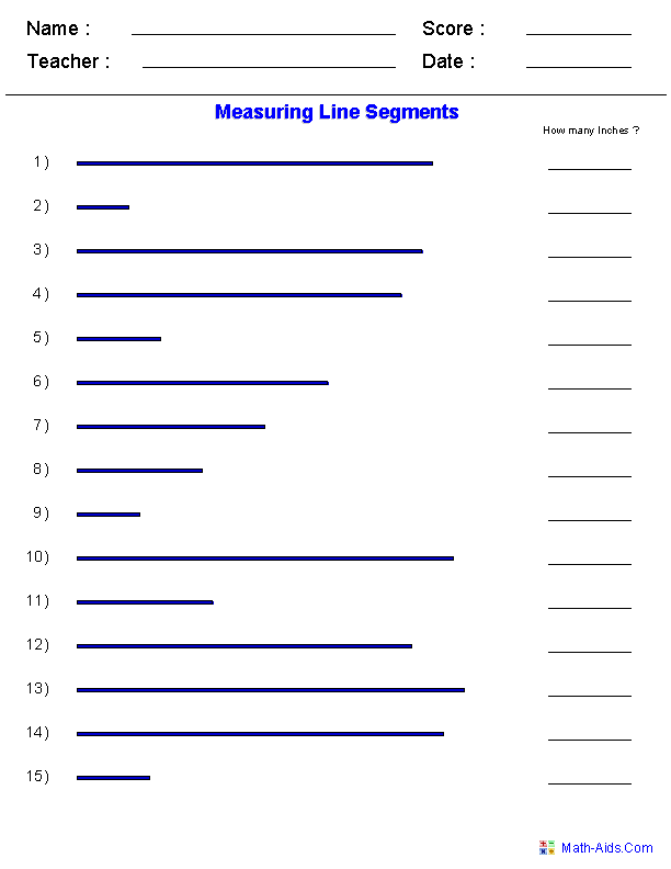 Measuring Line Segments Stuff to Buy – Measurements Worksheets