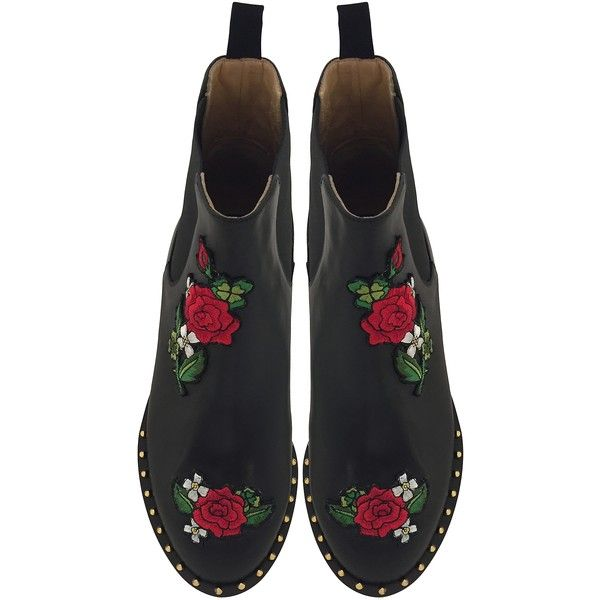 9c40e0b38 Charlotte Olympia Shoes Chelsea Black Leather Floral Embroidery Ankle...  ( 1