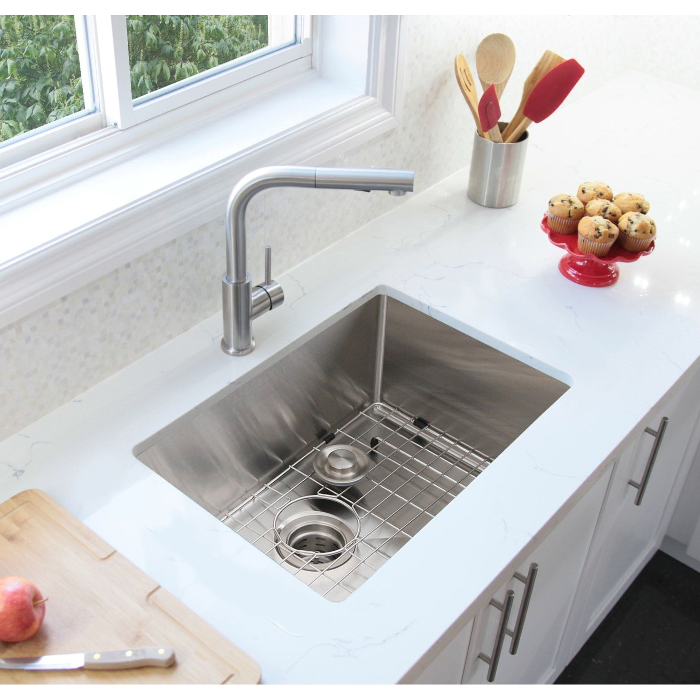 28 Undermount Single Bowl Kitchen Sink 16g Stainless Steel With