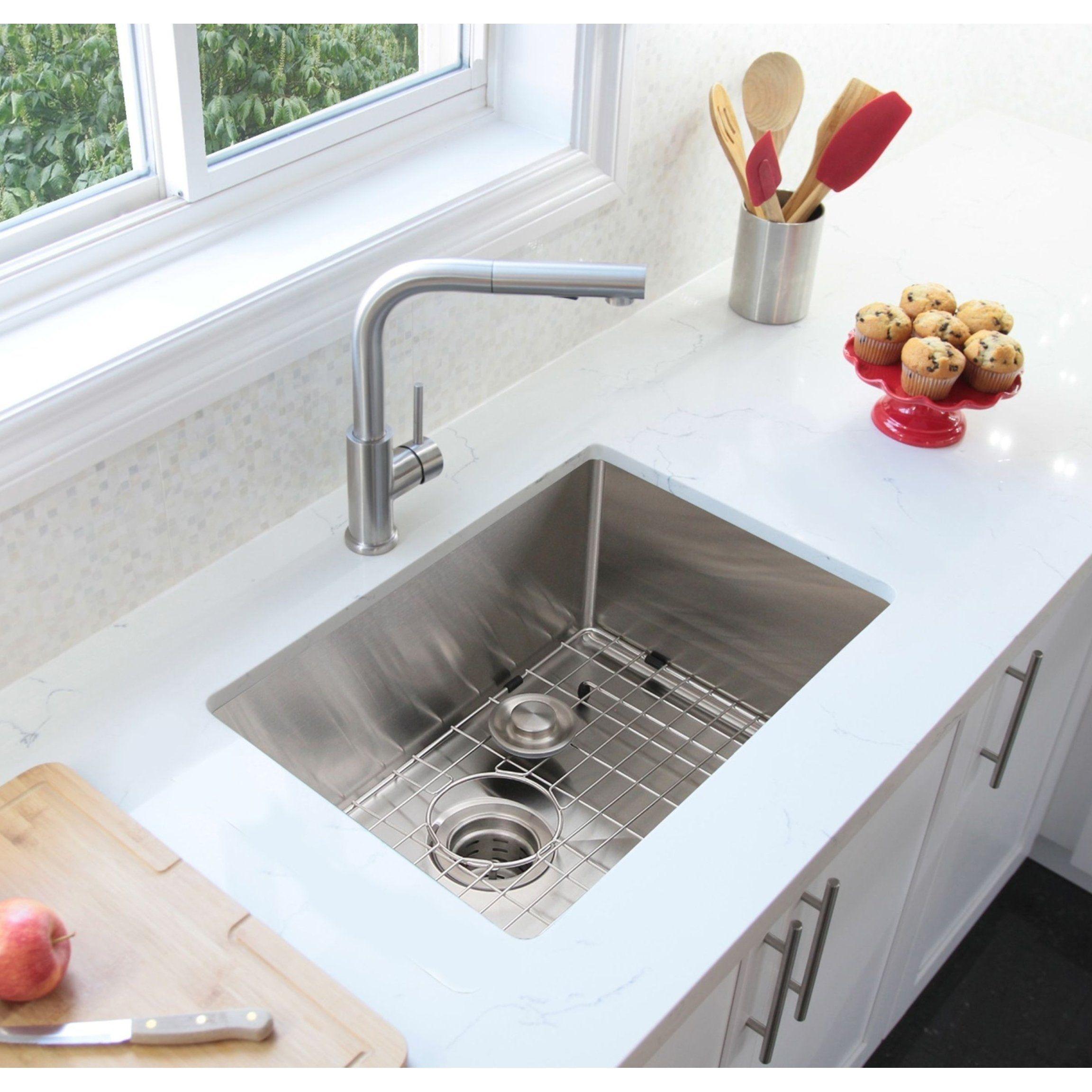 28 Undermount Single Bowl Kitchen Sink 16g Stainless Steel With
