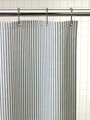 Heavy-duty fabric shower curtain eliminates the shower liner. Fabric ...