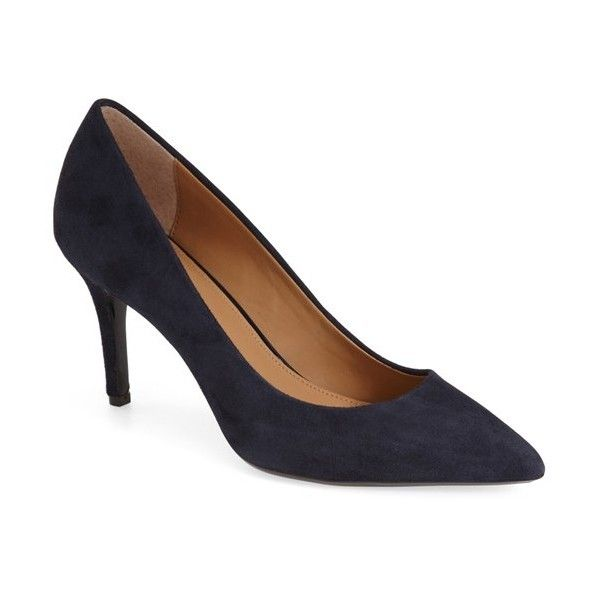 "Calvin Klein 'Gayle' Pointy Toe Pump, 3"" heel (1 325 ZAR) ❤ liked on Polyvore featuring shoes, pumps, deep navy kid suede, navy blue leather pumps, leather pumps, leather pointed toe pumps, navy leather pumps and navy pumps"