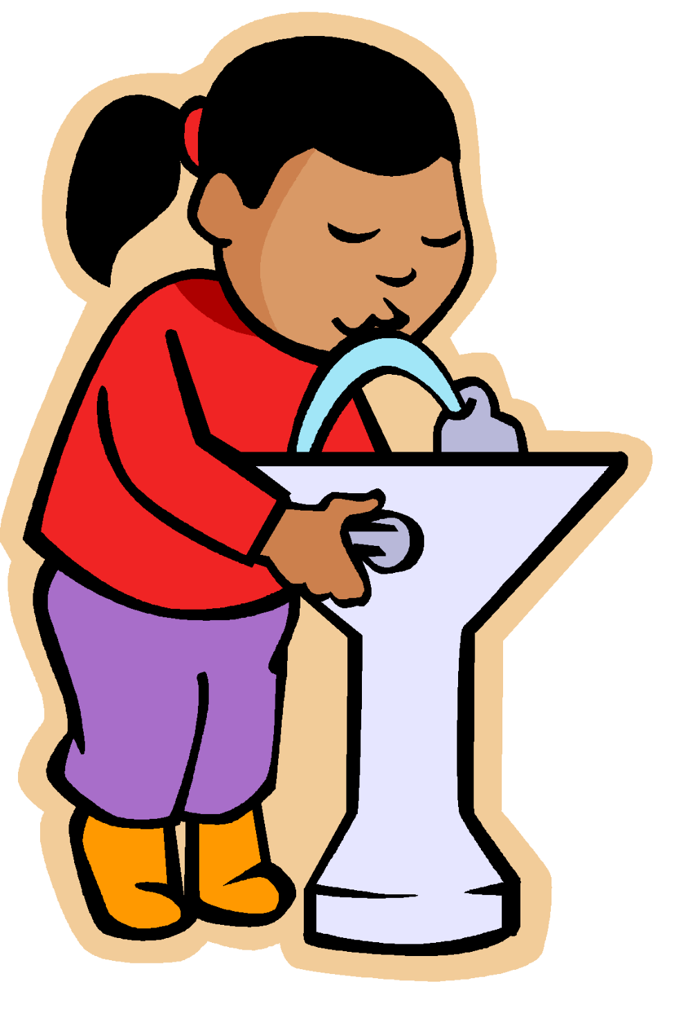 Clipart Water Fountain Clip Art Girl Reading Teaching Kindergarten Read Aloud