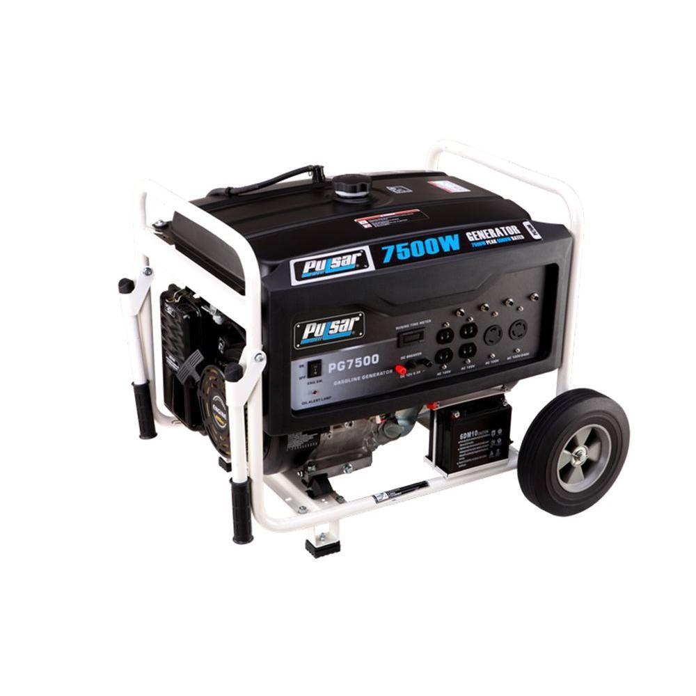7,500-Watt Gasoline Powered Electric Start Portable Generator with ...