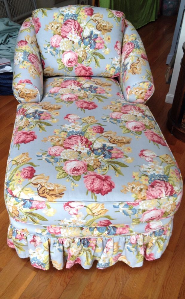 Hickory Hill Chaise Lounge Chair Floral Shabby Chic