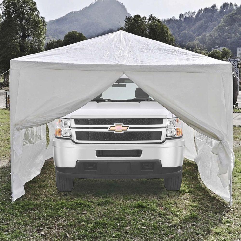 30 x 10 White Portable Garage Car Carport Shelter Canopy