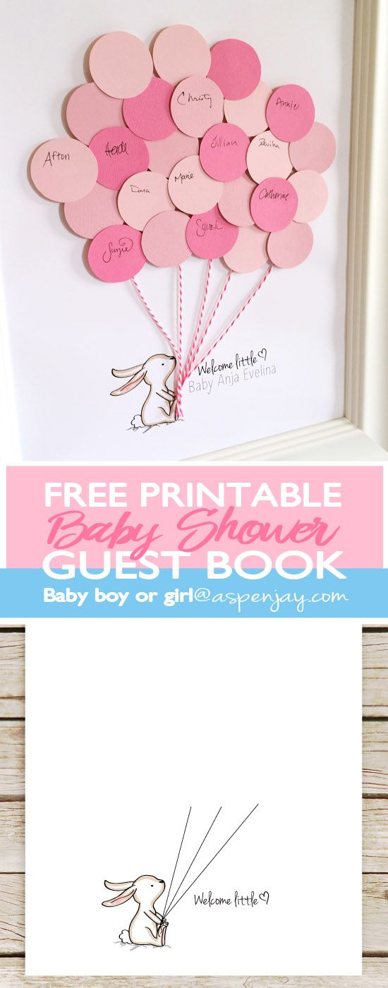 Bunny Baby Shower Guest Book Printable #greatnames