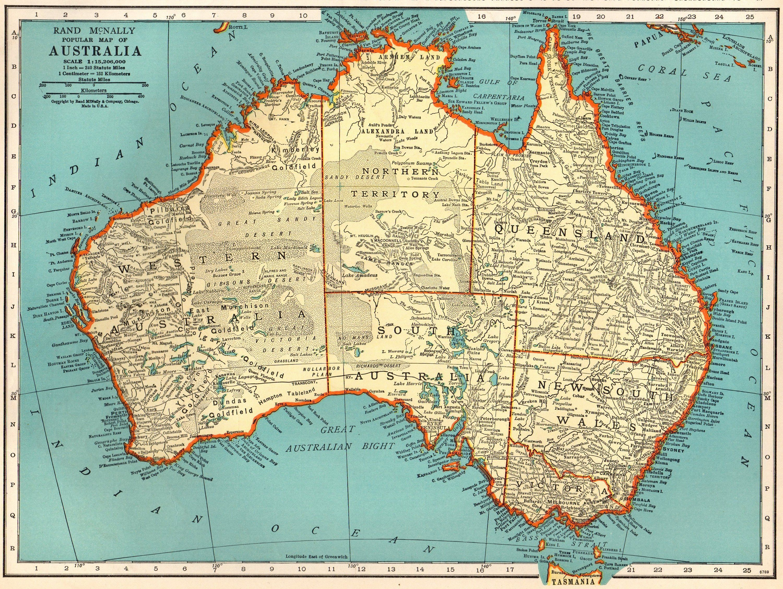 1939 Antique MAP of AUSTRALIA Vintage Australia Map 1930s