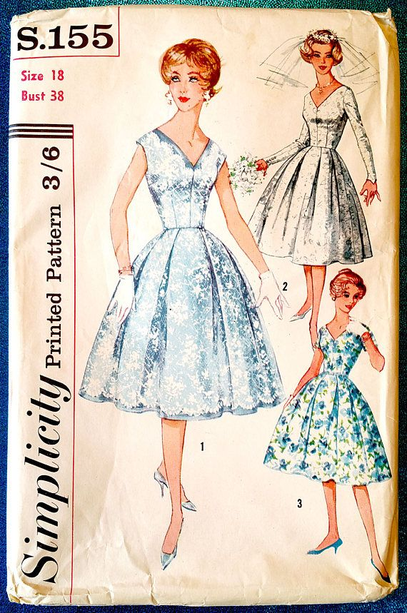 Rare Vintage 1950s V neck dress with full skirt sewing pattern ...