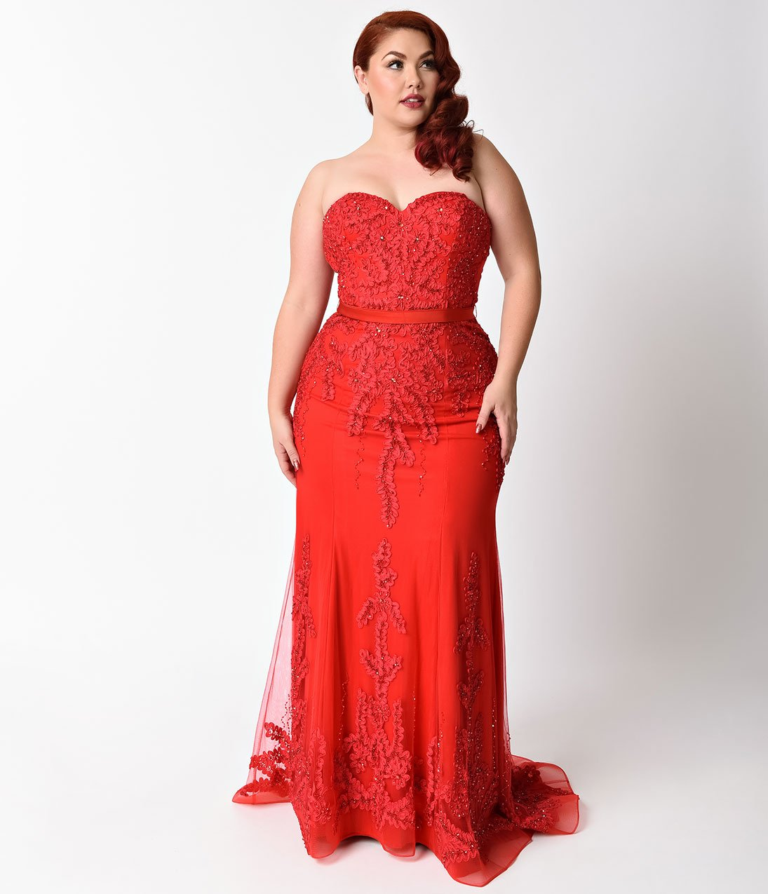 Plus size red strapless embellished long dress for prom