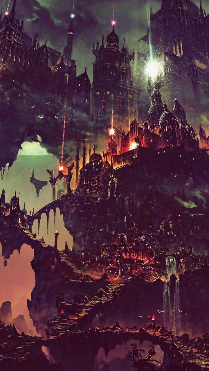Download 720x1280 wallpaper Fantasy, flying city, dark