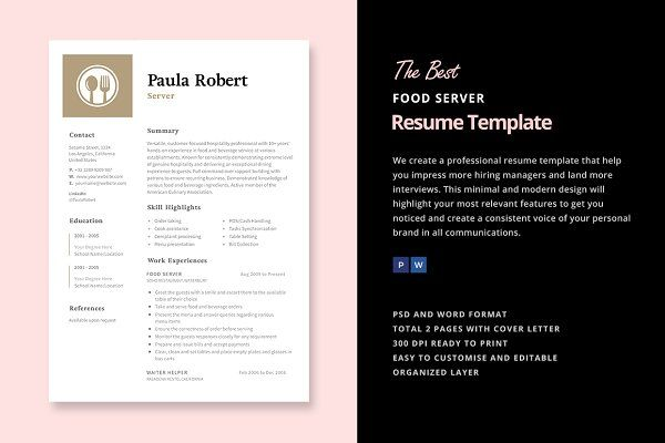 Server Resume Template CV Design #Resume #Job #Search - food service resume template