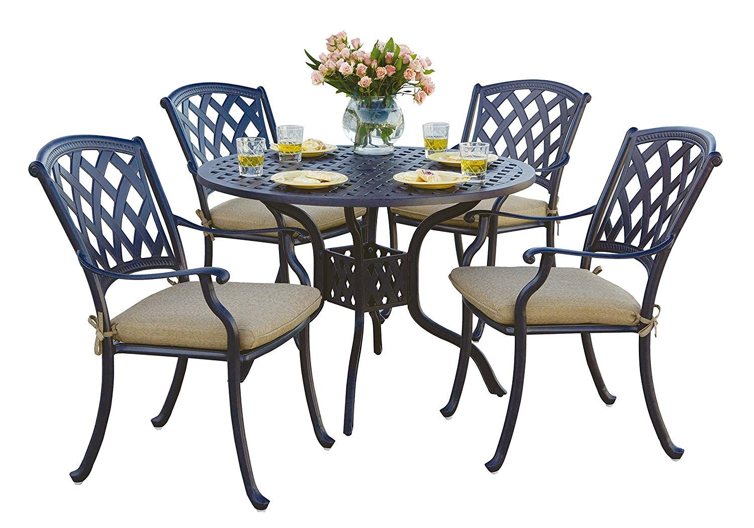 Set includes dining chairs with seat cushions and uu round