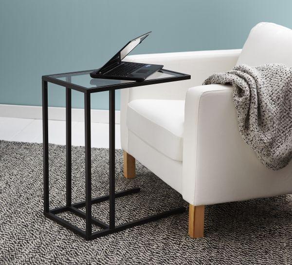 Laptop Table For Sofa: VITTSJÖ Laptop Stand - Black-brown, Glass