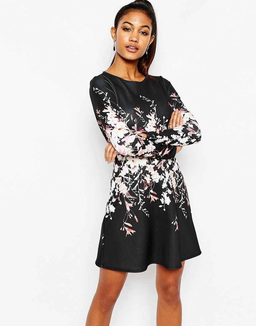 Lipsy Long Sleeve Swing Dress In Floral Placement | Kleider