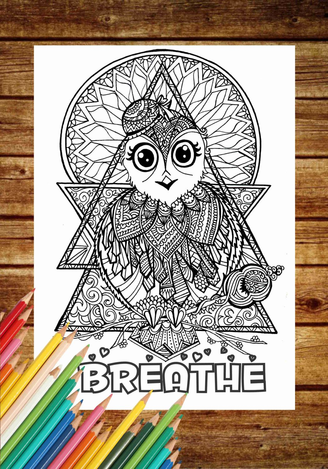 Breathe Coloring Page BREATHE Book Pages Printable Adult Art Therapy