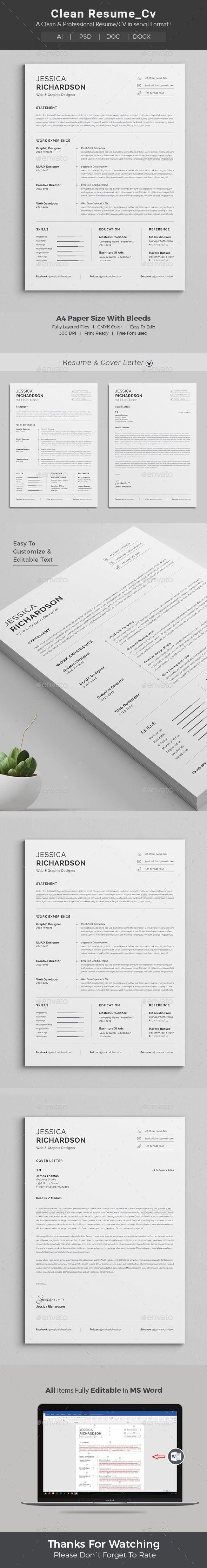 Resume Template PSD, AI, DOCX & DOC #Coverletters | Resume Ideas ...