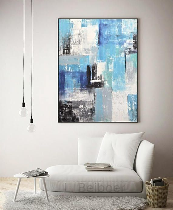 Large artwork blue white original modern abstract oil painting | L ...