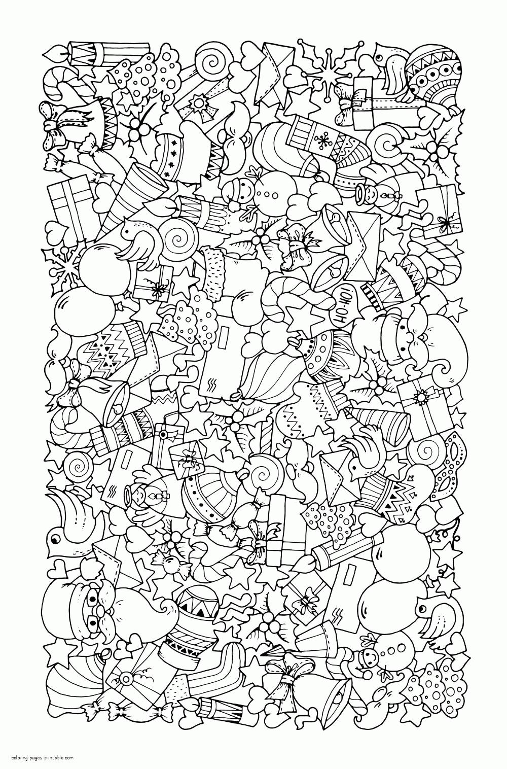 weihnachten doodle malvorlage für erwachsene weihnachten