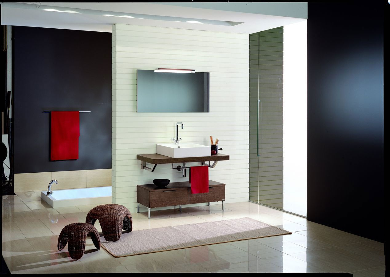 A Look At 29 Contemporary Bathroom Design Ideas : Stunning Black and White Contemporary Bathroom Decoration with Rattan Chairs and Square White Sink also BuiltIn Bathtub