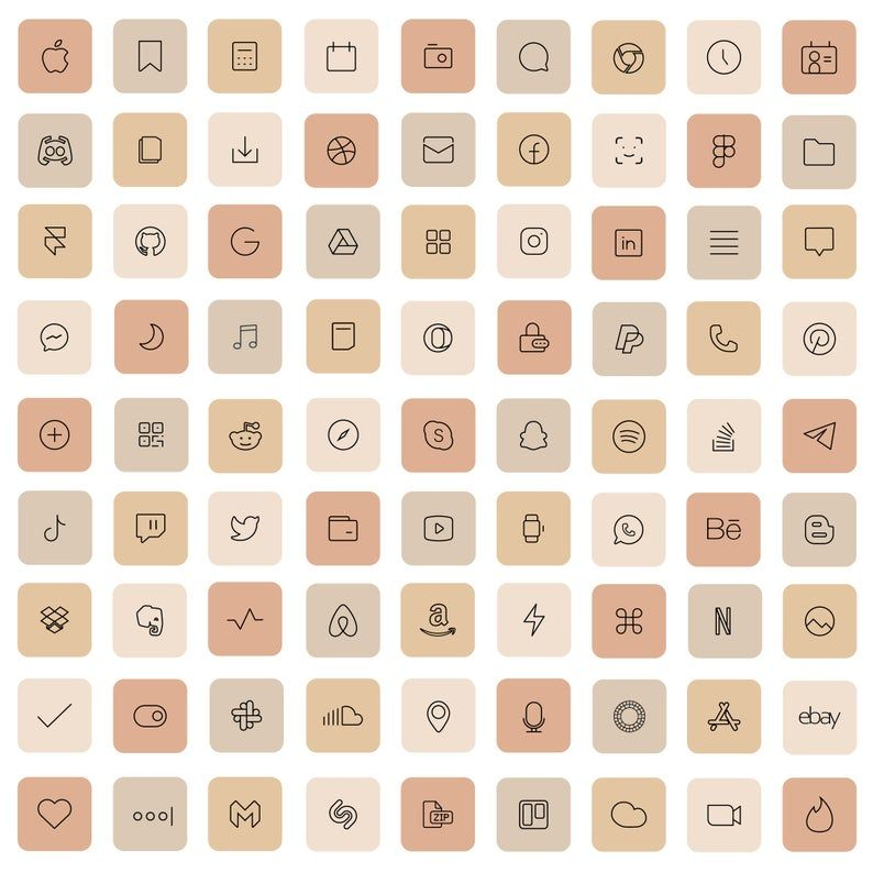 83 Cream iOS 14 App Icons Light Nude Beige Mood Mo