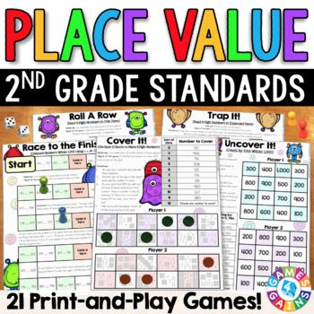 2nd Grade Math Centers: 2nd Grade Place Value Games {2.NBT.1 ...