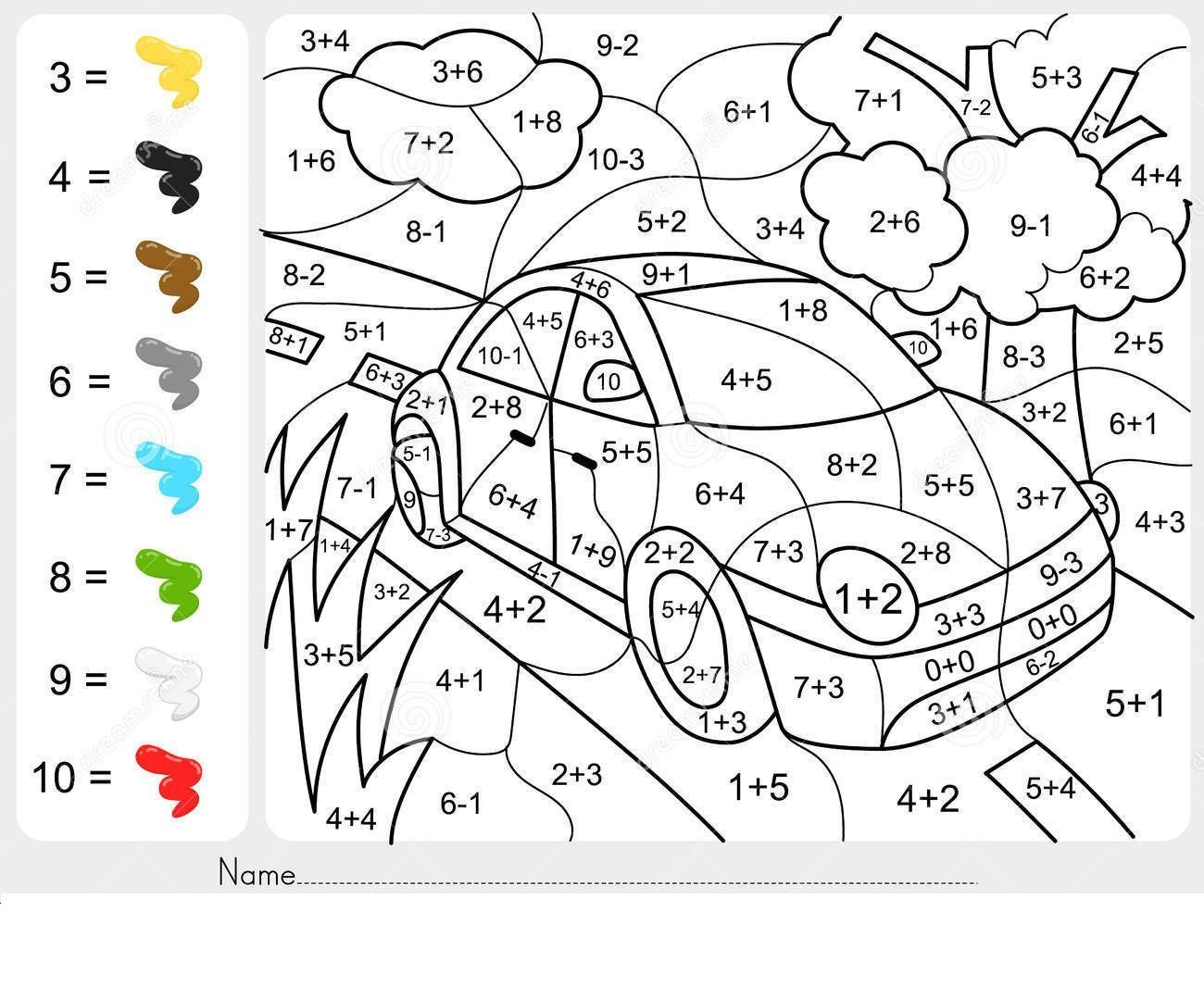 Coloring Addition Worksheets For Grade 1