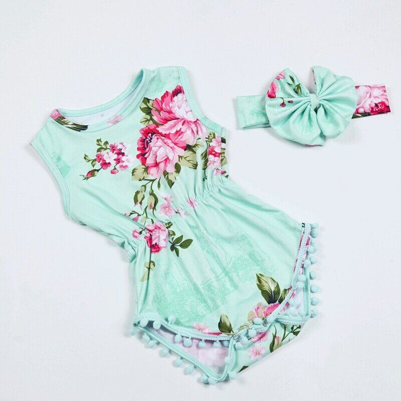 6310d16b6237 Share This Pin Mint And Pink Floral Pom Pom Romper First Birthday Outfit  Girl Baby Girl Romper