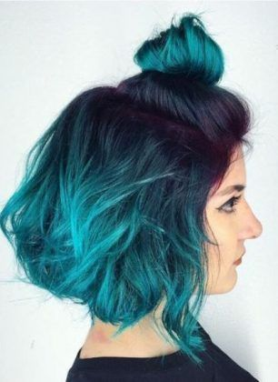 Blue Green Ombre Bob Blue Ombre Hairstyles Blue Ombre Hair Turquoise Hair Teal Hair Dye