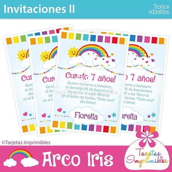 Arco Iris Invitaciones Para Imprimir Texto Editable Pdf