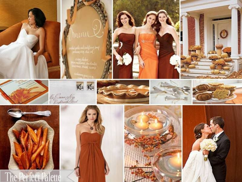 Fall Wedding Color Palette With Burnt Orange Latte Chocolate Brown Gold And