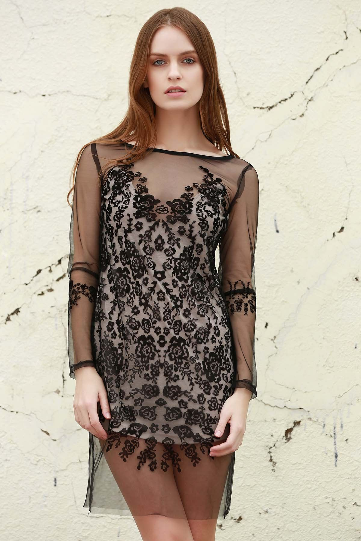 See Through Mesh Patterned Lace Dress Lace Dress Lace White Dress Lace Dress Black