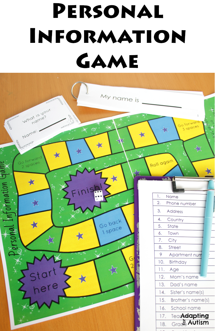 All About Me board game addressing students\' personal information ...