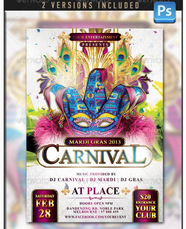 Mardi Gras Carnival Flyer Template Party Flyer Templates For Clubs Business Marketing Disenos De Unas Carnaval Disney