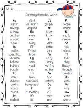 Commonly Misspelled Words Handout Free Commonly Misspelled Words Misspelled Words Teaching Spelling